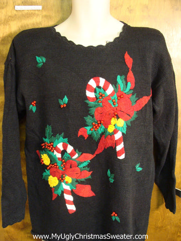 Classic 80s Candycanes Ugly Christmas Sweater