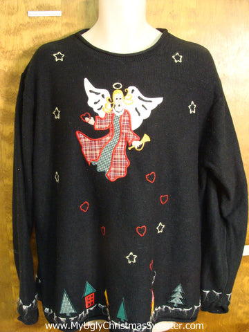 Plaid Scared Angel 80s Ugly Christmas Sweater