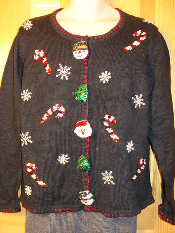 Tacky Ugly Christmas Sweater with Candy Canes and Huge Button Accent Decorations  (f470)