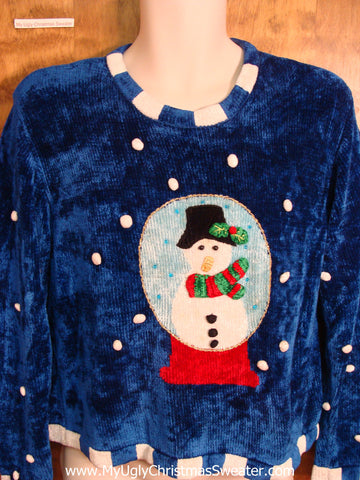 Snowman Snowglobe Soft 80s Ugly Christmas Sweater