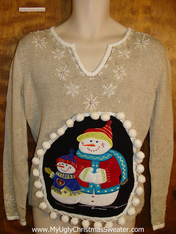 Cute Colorful Snowmen Ugly Christmas Sweater