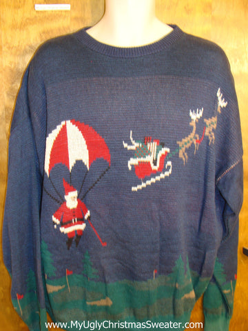 Golf Themed Santa and Reindeer Mens Christmas Sweater