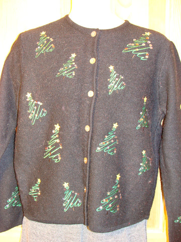 Tacky Ugly Christmas Sweater with Trees on Front and Back (f471)