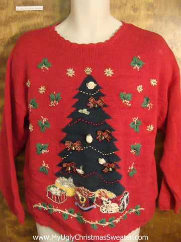 Classic 80s Style Huge Tree Ugly Christmas Sweater