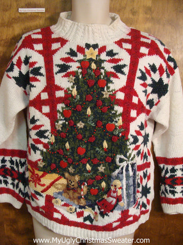 Lattice Work and Green Tree 80s Ugly Christmas Sweater