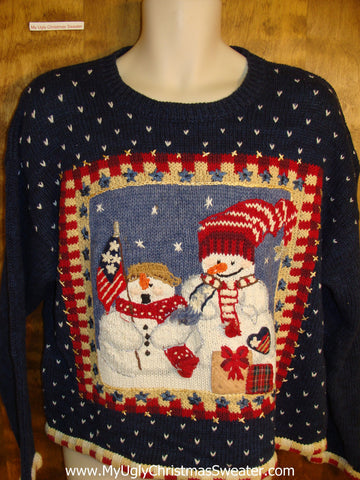 Festive Patriotic Snowmen Ugly Christmas Sweater
