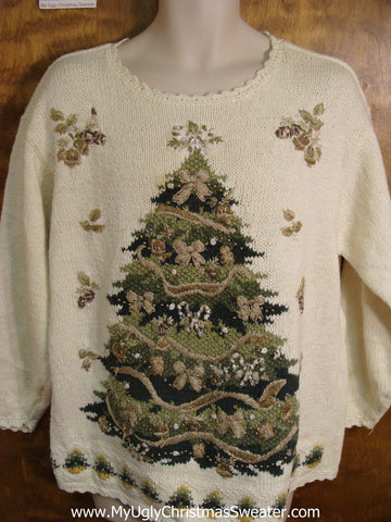 Ivory Knit with Big Green Tree Ugly Christmas Sweater