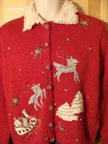 Tacky Ugly Christmas Sweater with Bling Reindeer and Furry Collar (f472)