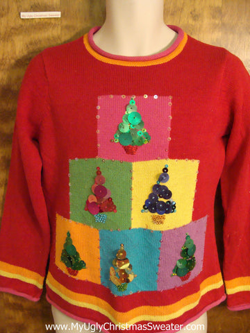 Colorful blocks with Bling Trees Ugly Christmas Sweater