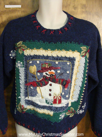 Ugly Blue Christmas Sweater with Snowman