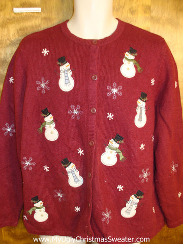 Floating Snowmen Ugly Christmas Sweater
