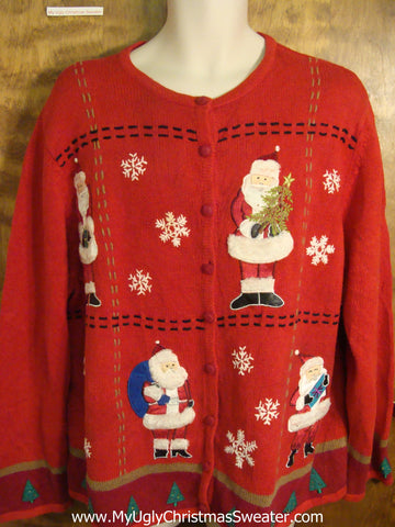 Busy Santas 2sided Ugly Christmas Sweater