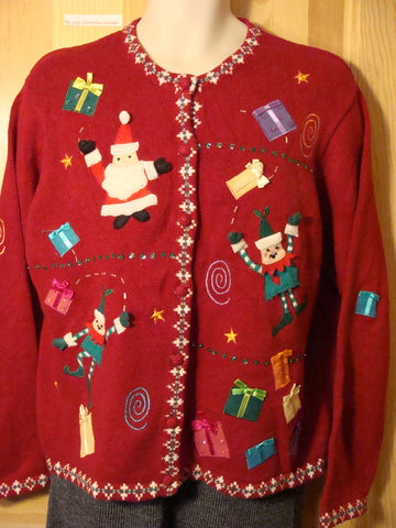 Tacky Ugly Christmas Sweater with Santa and Elves and Bling Sequin Gifts (f473)
