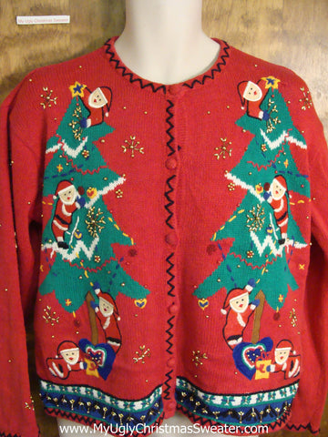 Super Cute Santas Working Ugly Christmas Sweater