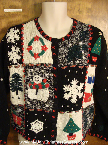 Black 2sided Ugly Christmas Sweater