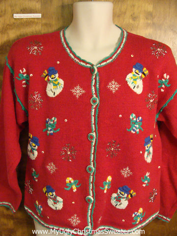 Red Ugly Christmas Sweater with Snowmen and Candycanes