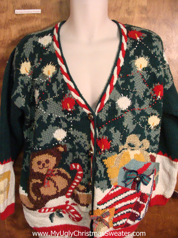 Tree and Teddy Bears 80s Ugly Christmas Sweater