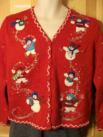 Tacky Ugly Christmas Sweater with Bead Bling Skating Snowmen (f474)