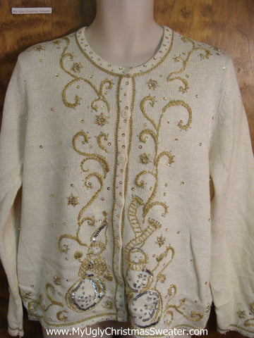 Cheap Ivory Ornate Ugly Christmas Sweater