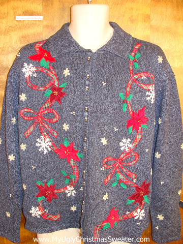 Ribbons and Poinsettias Ugly Christmas Sweater