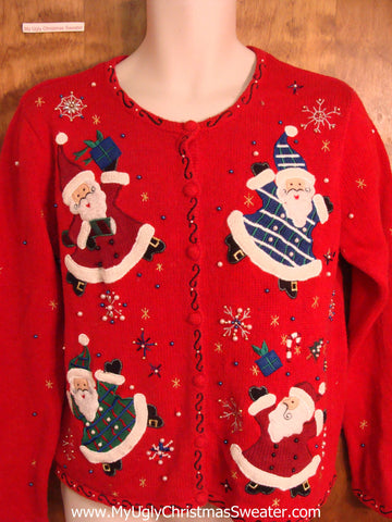 Ugly Christmas Sweater with Santas in Dresses