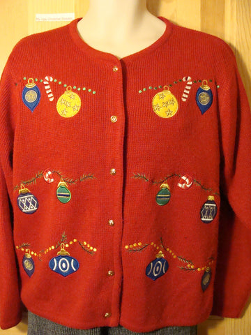 Tacky Ugly Christmas Sweater with Festive Ornaments (f475)