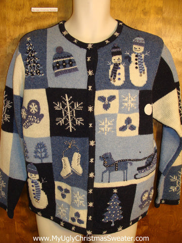 Blue Patchwork Ugly Christmas Sweater