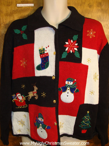 Red and Black Patchwork Ugly Christmas Sweater