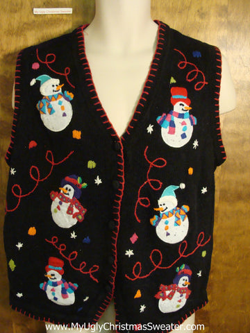 Snowman Sixpack Black and Red Ugly Christmas Sweater Vest