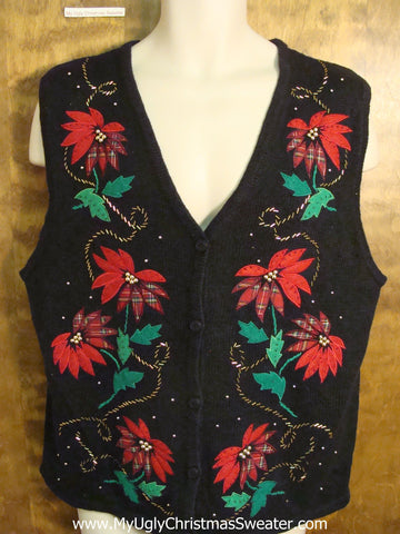 Cheap Ugly Christmas Sweater Vest with Red Poinsettias