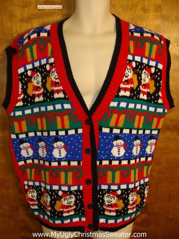 BEST Colorful 80s Ugly Christmas Sweater Vest