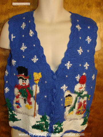 Funny Blue 80s Ugly Christmas Sweater Vest