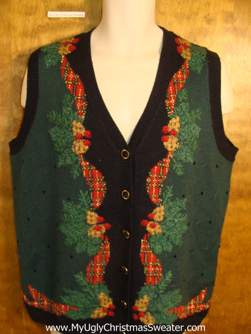 Horrible Green and Black Ugly Christmas Sweater Vest