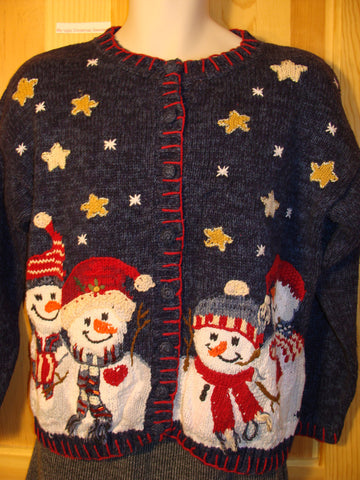 Tacky Ugly Christmas Sweater with Carrot Nosed Festive Snowmen in a Winter Wonderland (f476)