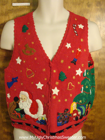 Fun and Festive Red 80s Ugly Christmas Sweater Vest