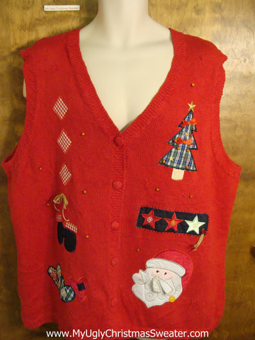 Big Size Red Tacky Ugly Christmas Sweater Vest
