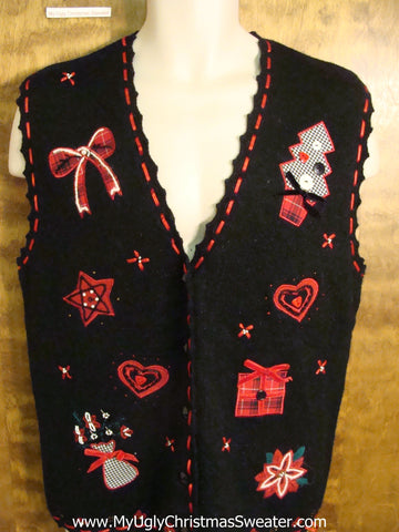 Tacky Red and Black Ugly Christmas Sweater Vest