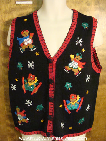 Skiing Bears Funny Ugly Christmas Sweater Vest