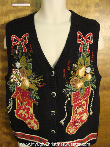 Ornate Stockings Awful Ugly Christmas Sweater Vest