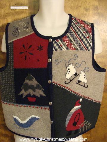 Patchwork Tacky Ugly Christmas Sweater Vest