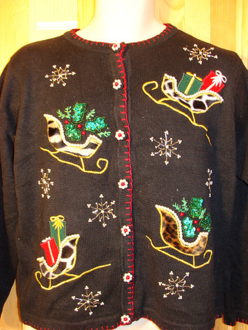Tacky Ugly Christmas Sweater with Bling Leopard Fabrid Sleighs with Ivy  (f477)