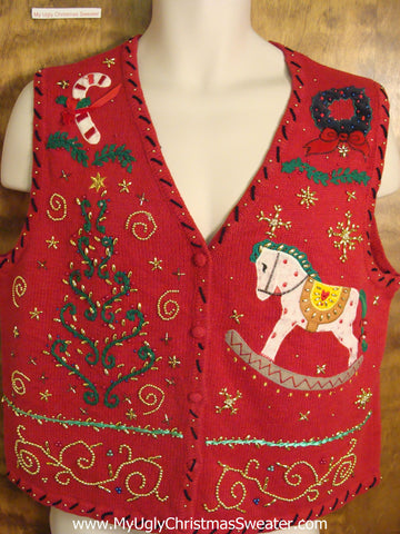 Red Ornate Ugly Christmas Sweater Vest with Rocking Horse