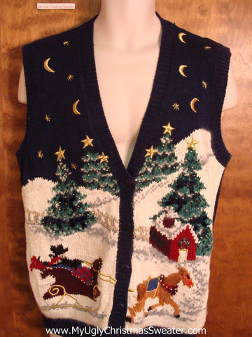 Horse and Sleigh in Winter Ugly Christmas Sweater Vest