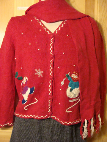 Tacky Ugly Christmas Sweater with Snowman and Scarf (f478)