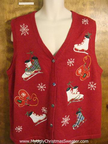 BIg XXXL 3xl Size Red Ugly Christmas Sweater Vest