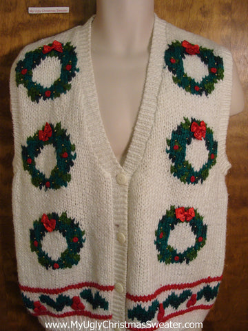 Wreath 6pack 80s Ugly Christmas Sweater Vest