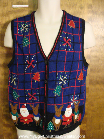 Blue Santa and Reindeer 2sided Ugly Christmas Sweater Vest