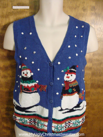 Funny Blue Ugly Christmas Sweater Vest with Snowmen