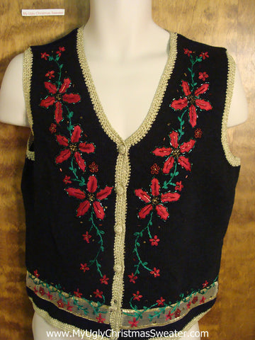 Cheap Black Tacky Christmas Sweater Vest with Poinsettias
