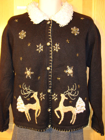 Tacky Ugly Christmas Sweater with Furry Collar and Prancing Reindeer (f479)